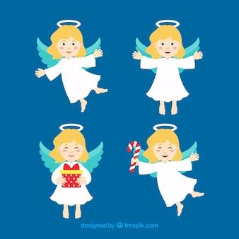 Verzameling van vier schattige kerst engelen