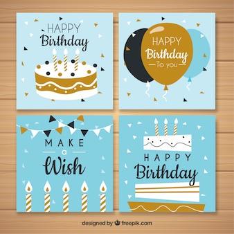 Verzameling van vier verjaardagskaarten in plat ontwerp