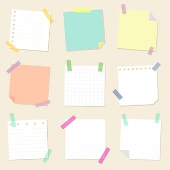 Verzameling van vierkante vellen herinneringspapier