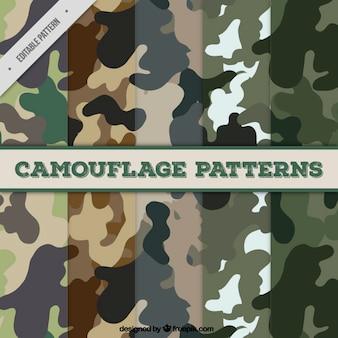 Verzameling van vijf camouflagepatronen