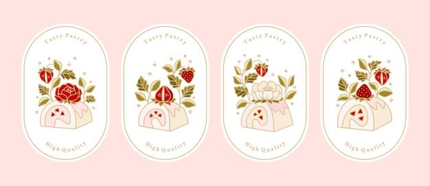 Verzameling van vintage bakkerij, gebak, cake-logo en voedseletiket met elementen van aardbei, roos, pioenroos