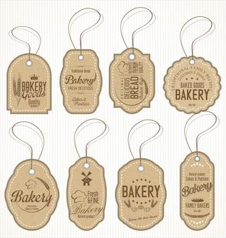 Verzameling van vintage bakkerij labels