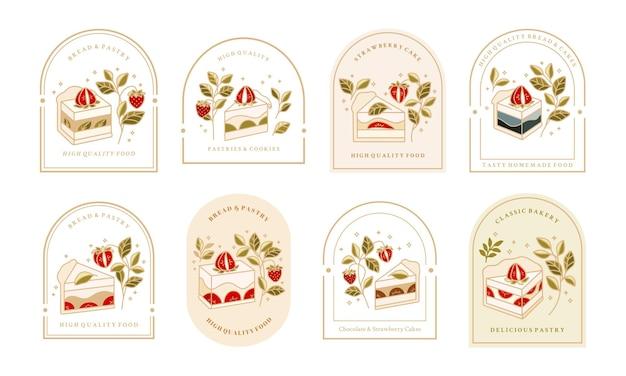 Verzameling van vintage cake-logo en voedseletiket met aardbei