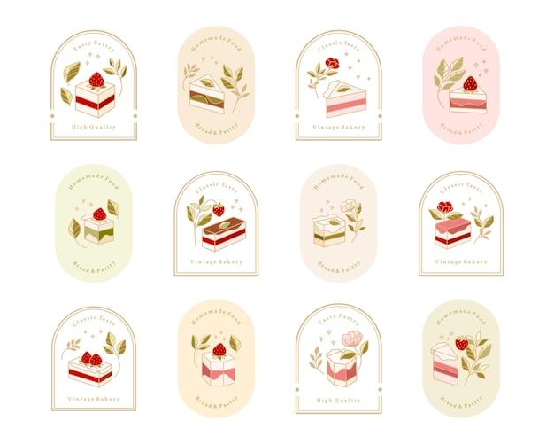 Verzameling van vintage cake-logo en voedseletiket met aardbeien-, frame- en bloemenelementen
