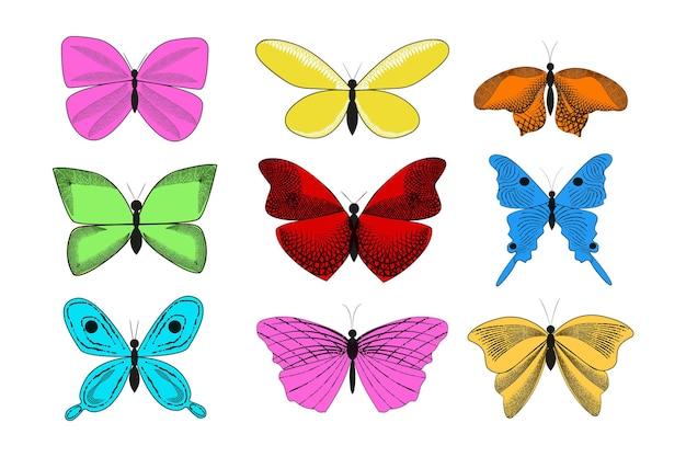 Verzameling van vintage elegante illustraties van vlinders.