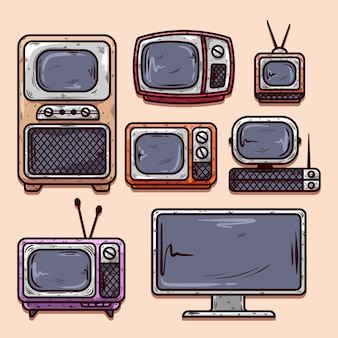 Verzameling van vintage en moderne televisie hand getrokken