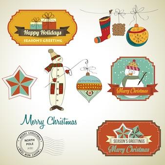 Verzameling van vintage kerst decoratieve elementen en labels
