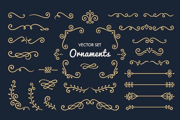 Verzameling van vintage ornament-elementen instellen