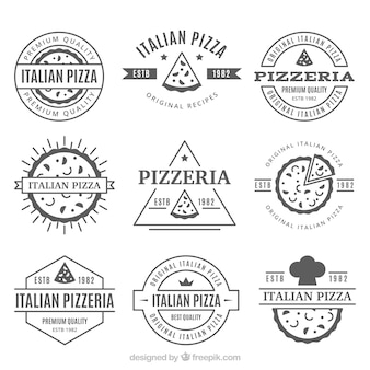 Verzameling van vintage pizza-logo's
