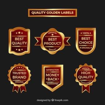 Verzameling van vintage premium gouden stickers
