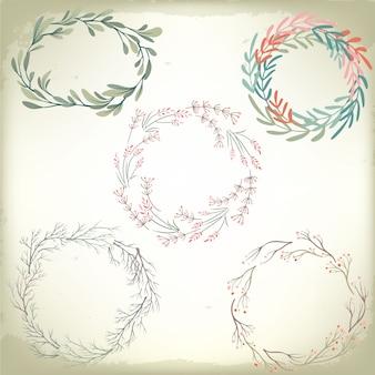 Verzameling van vintage romantische bloemen wreathes. bruiloft vector achtergrond