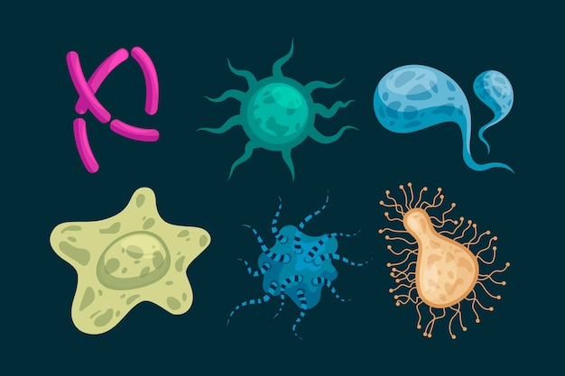 Verzameling van virus in platte ontwerp