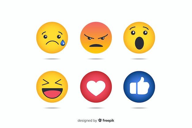 Verzameling van vlakke emoticonreacties