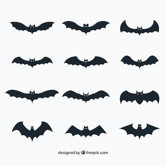 Verzameling van vleermuizen in vlakke vormgeving