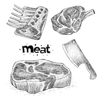 Verzameling van vlees in de hand getekend