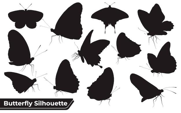 Verzameling van vlindersilhouetten in verschillende poses