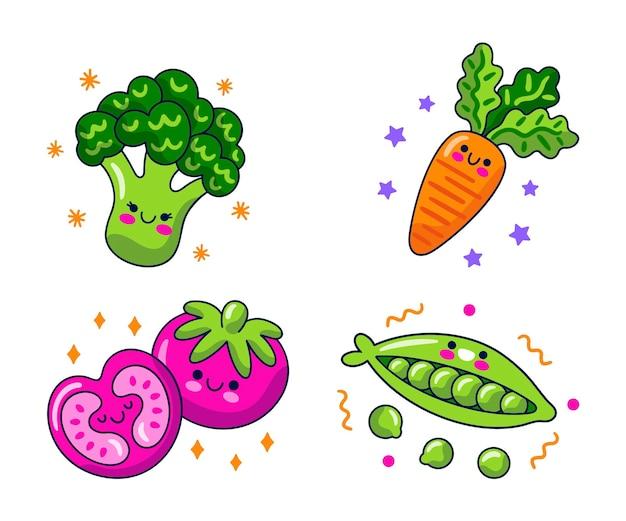 Verzameling van voedsel stripfiguren