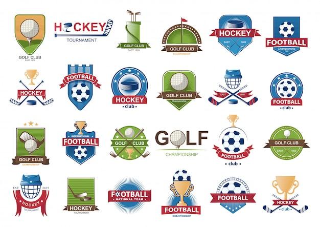 Verzameling van voetbal logo's.