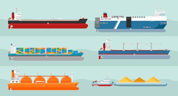 Verzameling van vrachtschepen vlakke stijl illustraties