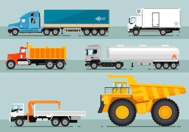 Verzameling van vrachtwagens vlakke stijl illustraties