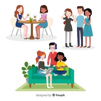 Verzameling van vrienden tijd samen doorbrengen