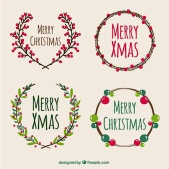 Verzameling van vrolijk kerstfeest kransen