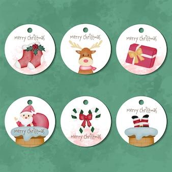 Verzameling van vrolijke kerst aquarel labellabels