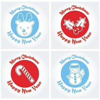 Verzameling van vrolijke kerst- en nieuwjaarskaarten
