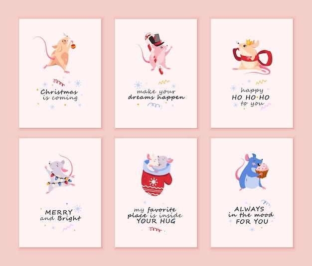 Verzameling van vrolijke kerstkaarten met muizen.