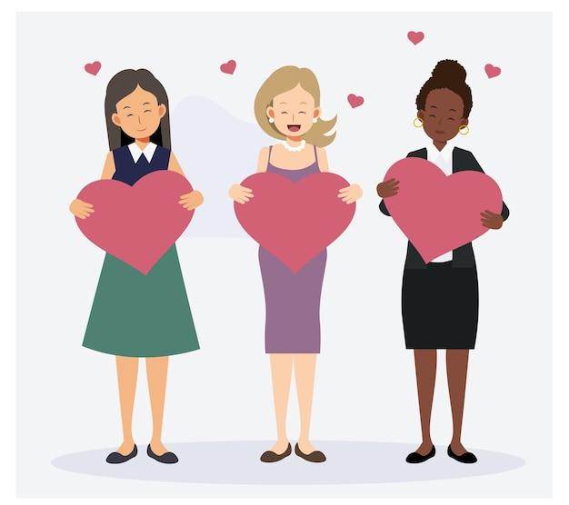 Verzameling van vrouw met een groot hart
