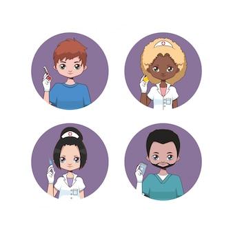 Verzameling van vrouwelijke en mannelijke verpleegster avatars