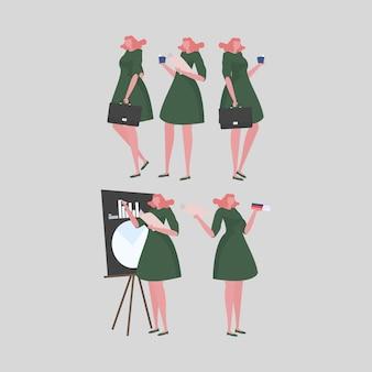 Verzameling van vrouwelijke leerkrachtactiviteiten op school