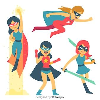 Verzameling van vrouwelijke superheld personages in komische stijl