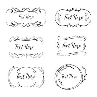 Verzameling van vrouwelijke vintage logo frame voor bruiloft.
