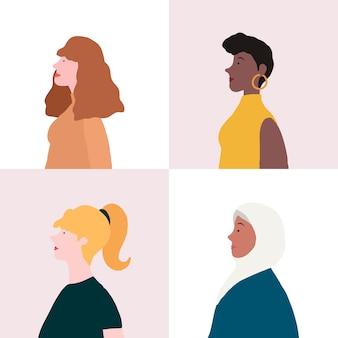 Verzameling van vrouwen in profiel vector