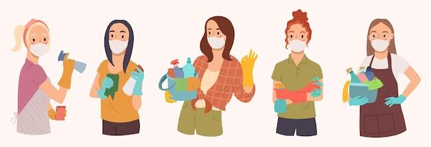 Verzameling van vrouwen is klaar om te worden schoongemaakt