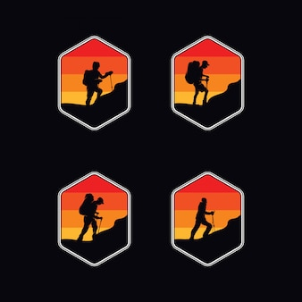 Verzameling van wandelaar expeditie avontuur logo ontwerpsjabloon