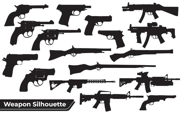 Verzameling van wapens of pistolen of geweren silhouetten