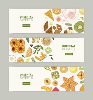 Verzameling van webbannersjablonen met oosterse snoepjes op borden en plaats voor tekst. traditioneel gebak eten, heerlijke lekkernijen op witte achtergrond. hand getekend realistische vectorillustratie.