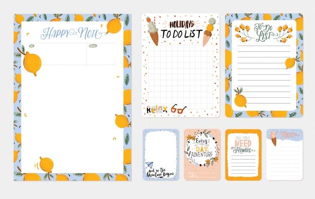 Verzameling van week- en dagplanners, blad voor aantekeningen en to do-lijstjes met zomerillustraties en belettering. sjabloon voor agenda, planners, checklists en ander briefpapier.