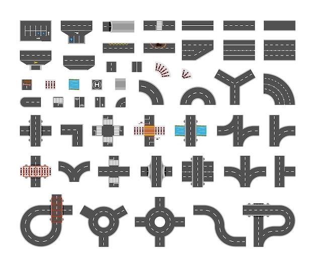 Verzameling van wegen, kruispunten en wegmarkeringen.