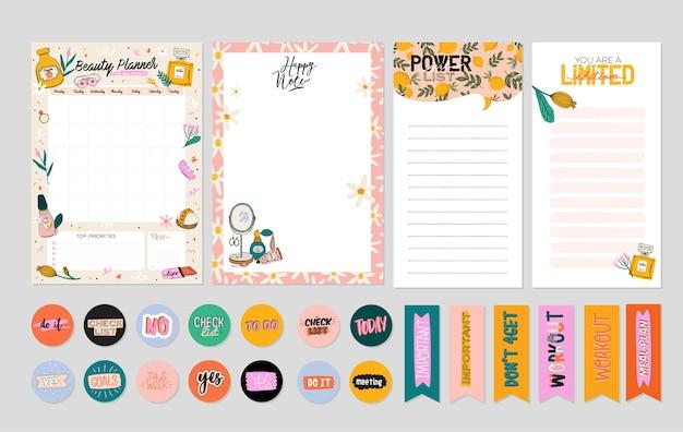 Verzameling van wekelijkse of dagelijkse planner, notitiepapier, takenlijst, stickersjablonen versierd door schattig