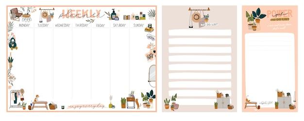 Verzameling van wekelijkse of dagelijkse planner, notitiepapier, takenlijst, stickersjablonen versierd met illustraties voor interieurdecoraties en inspirerende citaten. schoolplanner en organisator. vlak