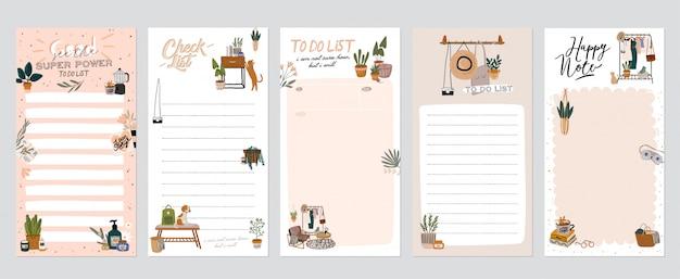 Verzameling van wekelijkse of dagelijkse planner, notitiepapier, takenlijst, stickersjablonen versierd met illustraties voor interieurdecoraties en inspirerende citaten.