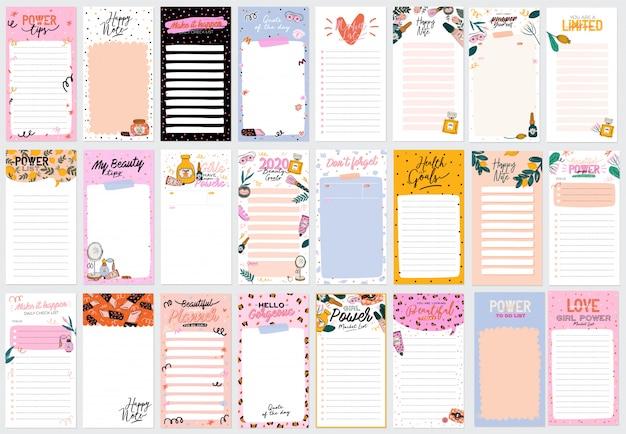 Verzameling van wekelijkse of dagelijkse planner, notitiepapier, takenlijst, stickersjablonen versierd met schattige cosmetische illustraties voor schoonheid en trendy belettering.