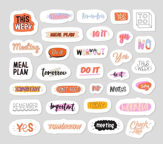 Verzameling van wekelijkse of dagelijkse planner, notitiepapier, takenlijst, stickersjablonen versierd met schattige illustraties en trendy belettering.