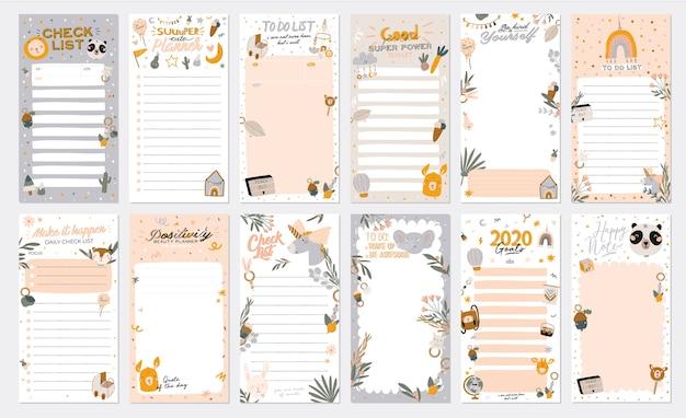 Verzameling van wekelijkse of dagelijkse planner, notitiepapier, takenlijst, stickersjablonen versierd met schattige kinderillustraties en inspirerende citaten. schoolplanner en organisator. vlak