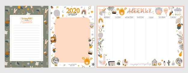 Verzameling van wekelijkse of dagelijkse planner, notitiepapier, takenlijst, stickersjablonen versierd met schattige kinderillustraties en inspirerende citaten.