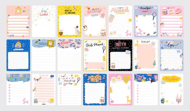 Verzameling van wekelijkse of dagelijkse planner, notitiepapier, takenlijst, stickersjablonen versierd met schattige kinderillustraties en inspirerende citaten