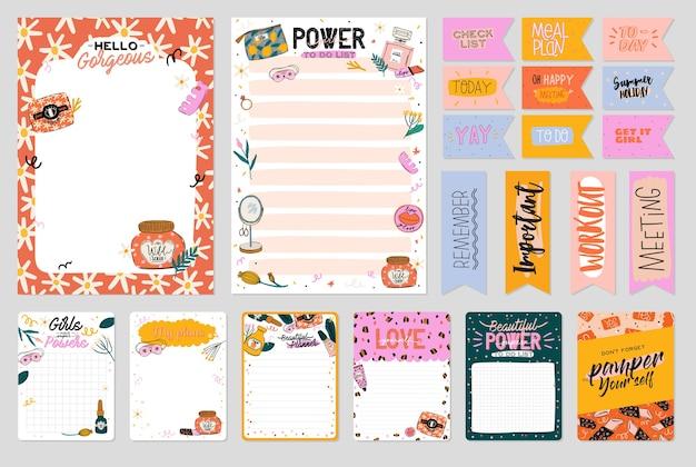 Verzameling van wekelijkse of dagelijkse planner, notitiepapier, takenlijst, stickersjablonen versierd met schattige schoonheid, cosmetische illustraties en trendy letters. trendy planner of organisator. vlak
